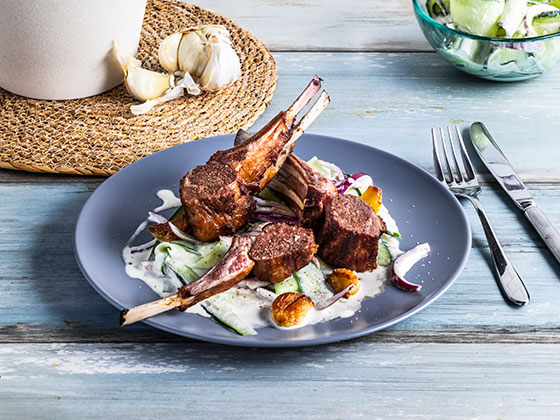 Cucumber salad with roasted rack of lamb