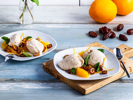 Fluffy date mousse with orange salad